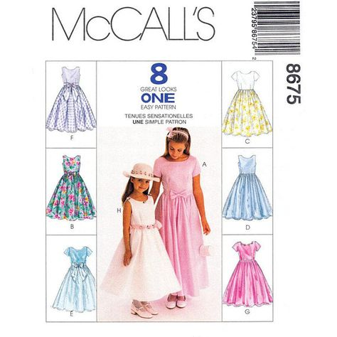 80a359392 Easy Girls Dress Free Pattern | ... Flower Girl Easter Dress Sewing Pattern  8 Styles Easy Size 7 - 8 - 10 | annette | Skirt patterns sewing, Girl dress  ...