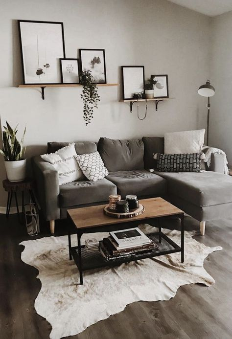 home decor | living room | apartment decoration | small space | grey sofa | modern | neutral