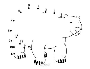 The Happy Cartoon Polar Bear Is Standing On Four Legs And Smiling In This Printable Dot To Puzzle It Great For Zoo Parties Or Winter