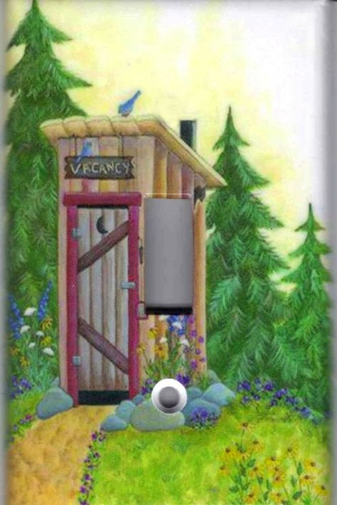 COUNTRY OUTHOUSE /& PINE TREES BATH HOME DECOR SWITCH OR OUTLET COVER V660
