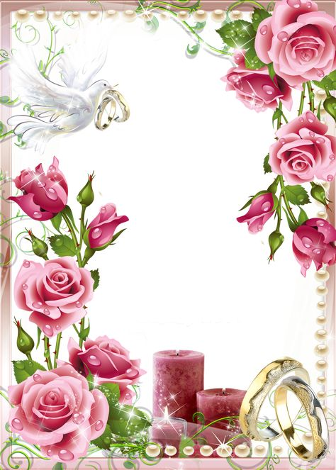 Soft Pink Wedding Photo PNG Frame​ | Gallery Yopriceville - High-Quality Images and Transparent PNG Free Clipart