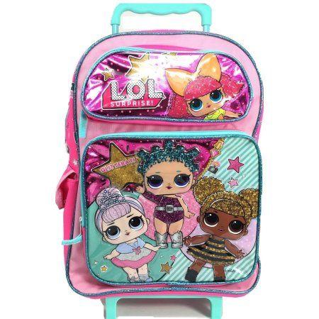 L O L Surprise Large School Rolling Backpack 16 Girls Bag Pink