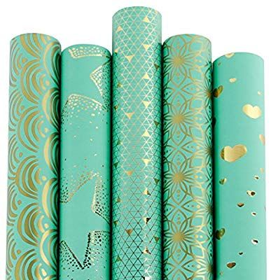 Amazon Com Ruspepa Gift Wrapping Paper Roll Mint And Gold Foil