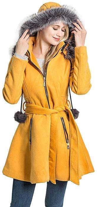 0633e9263eb29 Amazon.com: Kenguru Cove Women's Wool Trench Coat Lapel Wrap Swing ...