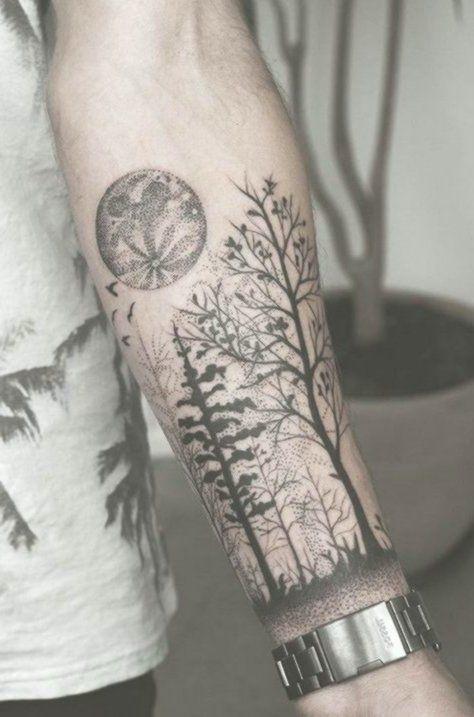 Männer unterarm wald tattoo Kleine Tattoos
