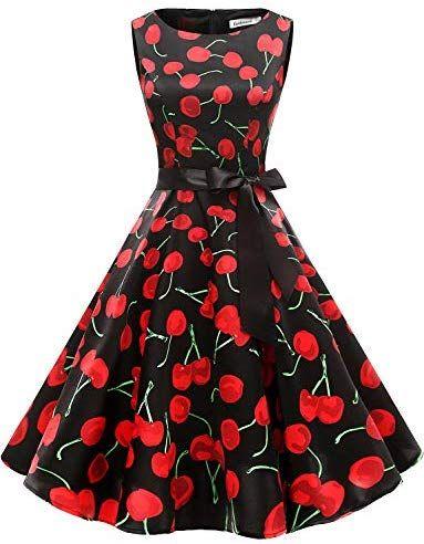 Gardenwed Womens Audrey Hepburn Rockabilly Vintage Dress 1950s Retro Cocktail Swing Party Dress