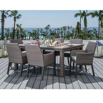 portofino 7 piece dining set in laguna blue natural stone top table rh pinterest com