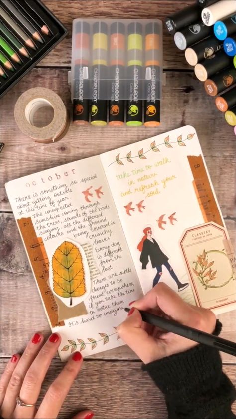 I had so much fun creating these journaling pages 🤗🍁 #journal #journaling #travelersnotebook