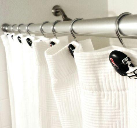 Texans Shower Curtain Hooks In Man Cave Bathroom