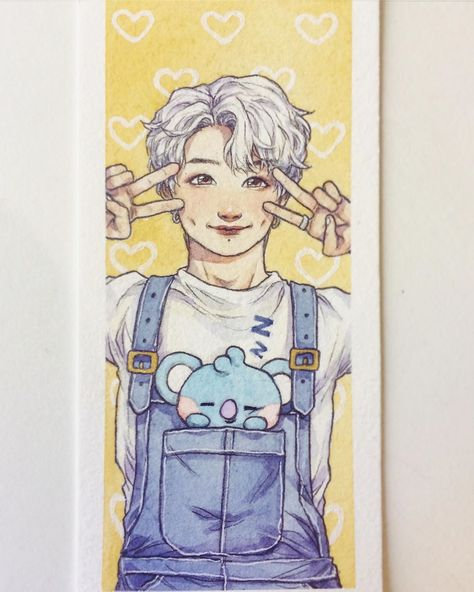 A cute little Joonie and a sleeping baby Koya🐨💤 I want to draw all of baby bt21😭 they're all so cute!💞 #bts #bangtanboys #namjoon #kimnamjoon #rm #happybirthdaynamjoon #happyrmday #ourjooniverse #bt21 #koya #overalls #outfit #reference #dimples #watercolour #watercolor #gouache #drawing #gelpen #pencil