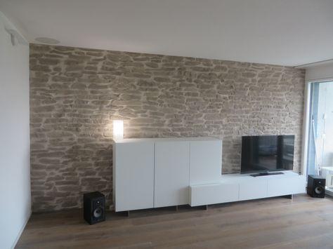123 best Wandgestaltung Wohnzimmer images on Pinterest Rock wall - steinwand wohnzimmer schwarz
