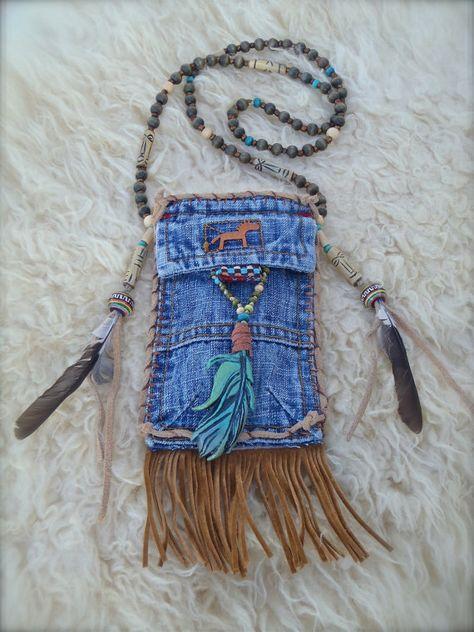 tribal indio americano medicina bolsa de mezclilla con pluma encanto turquesa gamuza cuero collar