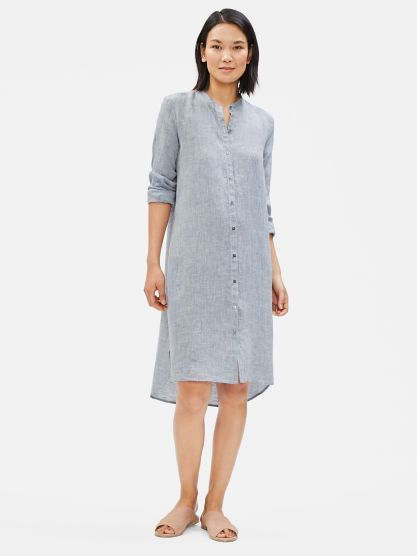 Yarn Dyed Organic Handkerchief Linen Shirt Dress Eileen Fisher Linen Shirt Dress Shirt Dress Natural Linen Clothing