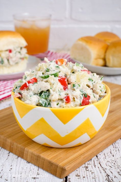 Hawaiian Chicken Salad - adding juicy fruit, crunchy nuts, and spicy peppers creates a delicious chicken salad that everyone goes crazy for. Make this easy healthy recipe for potlucks and picnics! #chicken #salad #healthy #dinner #picnicfood #easy #recipe #pineapple