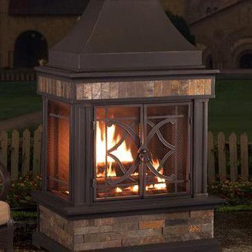 Sunjoy Heirloom Steel Wood Burning Outdoor Outdoor Fireplace In 2020 Patio Fireplace Outdoor Fireplace Natural Gas Outdoor Fireplace