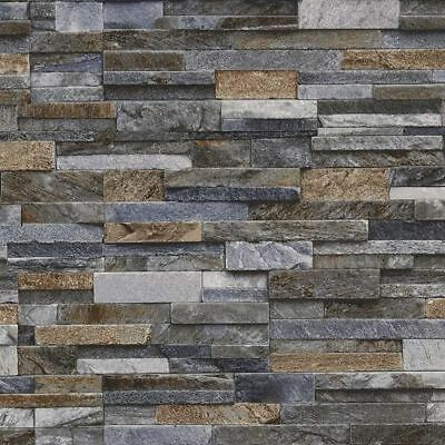 Details About Slate Stone Brick Effect Wallpaper 3d Vinyl Textured Grey Bronze Brown Blue With Images Brick Effect Wallpaper Brick Wallpaper Grey Brick Wall Wallpaper