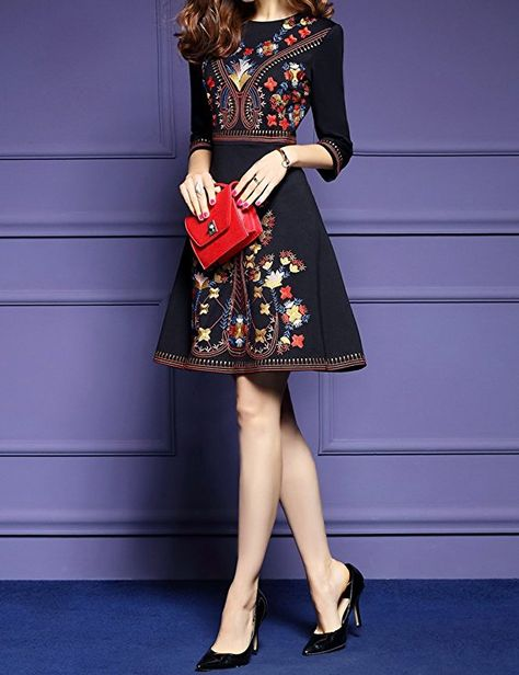5fa27872c9 Women s Premium Embroidered Floral 2 3 Sleeves Skater Cocktail Formal Dress  at Amazon Women s Clothing store