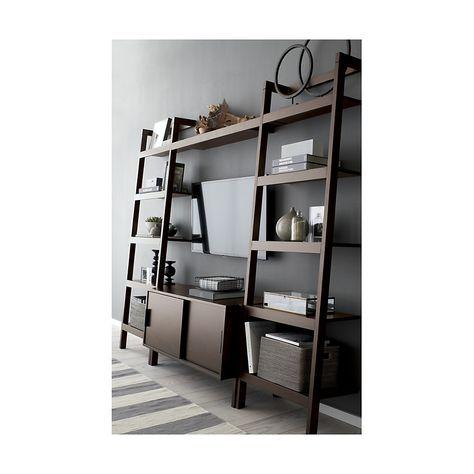 sawyer mocha leaning 24 5 bookcase crate and barrel living room rh pinterest ru