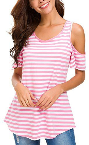 Womens Striped Cold Shoulder Tee Top Short Sleeve Blouse Casual Loose T-Shirt