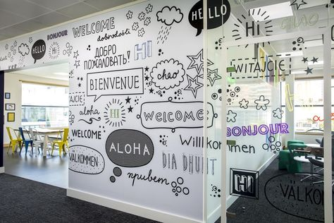 Custom wall graphics for office fit out projects. Wall and glass manifestations for commercial interior design projects. Get a quote at hello by mihomi