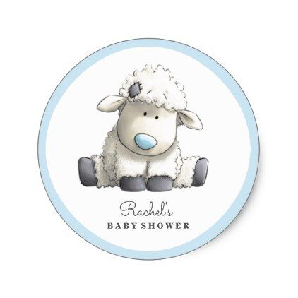 Baby Lamb Blue Baby Shower Sticker - boy gifts gift ideas diy unique