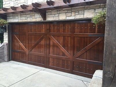 Gabriel Design 8 X 7 Barn Style Custom Mahogany Wood Garage Door Ebay In 2020 Garage Door Design Wood Garage Doors Custom Wood Garage Doors