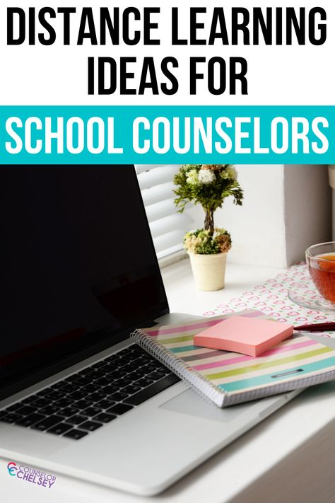 Distance Learning Ideas For School Counselors — Counselor Chelsey School Counselor Office, Middle School Counseling, Elementary School Counselor, Career Counseling, Elementary Schools, Virtual High School, Online High School, School Social Work, Social Work Activities