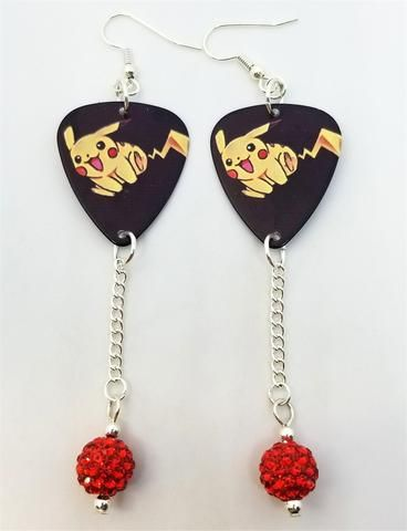 1773858e5 Pokemon Pikachu Guitar Pick Earrings with Red Pave Bead Dangles in ...