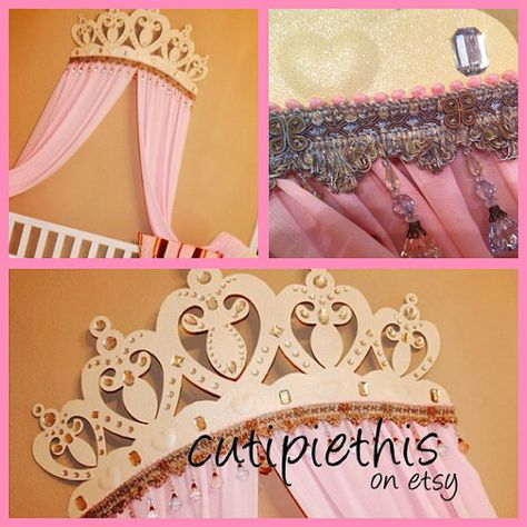 Princess Baby bed canopy crown sweet pea bed crown by RusticDeer