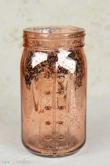 Pink Rose Gold Mercury Glass Mason Jar Gold Mercury Glass Diy