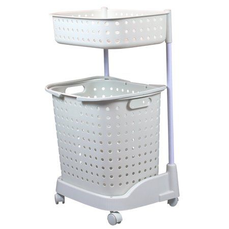 2 Tier Plastic Laundry Basket With Wheels Walmart Com In 2020