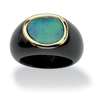 Genuine Blue Opal and Black Jade Yellow Gold Bezel-Set Cabochon Ring. Contrasts in vivid color is what this ring is all about. A large blue opal cabochon is perched atop black jade to form this beautiful ring.