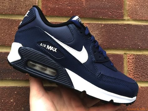 separation shoes 49968 e74d7 Nike Air Max 90 (GS) Junior Women - Navy Blue White