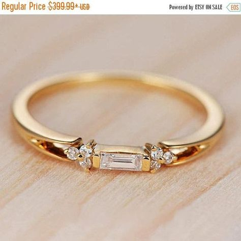 Baguette Diamond Engagement Ring Gold Wedding Band Stacking Antique Unique Women Rose Gold Minimalist Anniversary Gift For Her Bridal Set