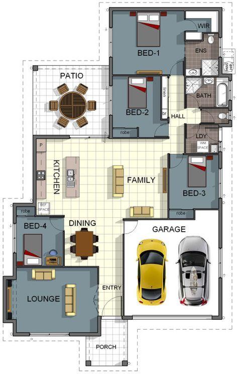 Floor Plan House Design 4 Bedroom 2 Bathroom Double Garage Theatre Room Internal Laundry Download House Design And Specifica 4 Bedroom House Designs House Floor Plans Floor Plans