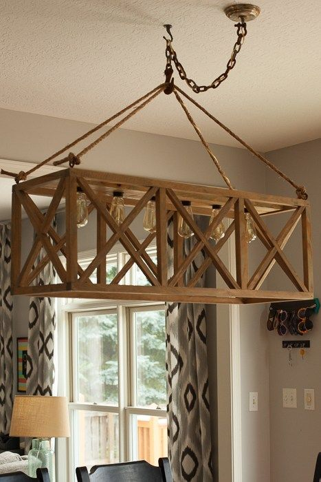 Hanging Wooden X Chandelier Diy Light Fixtures Diy Chandelier