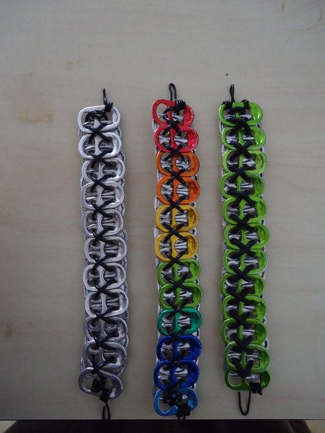 Soda-Energy Drink tab Bracelet by on DeviantArt Soda Tab Crafts, Can Tab Crafts, Tape Crafts, Cute Jewelry, Jewelry Crafts, Can Tab Bracelet, Madara And Hashirama, Monster Energy Girls, Monster Energy Clothing