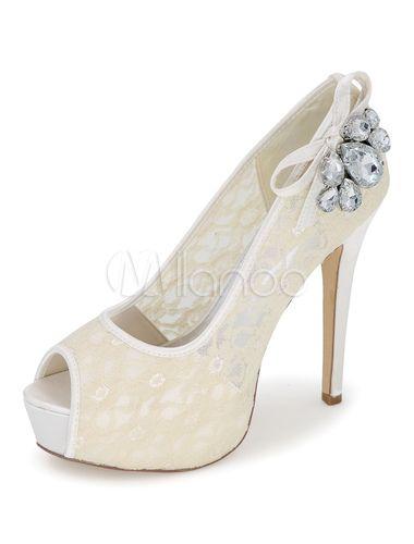 Scarpe Sposa Milanoo.Ivory Wedding Shoes Platform Lace Peep Toe Slip On Rhinestone High
