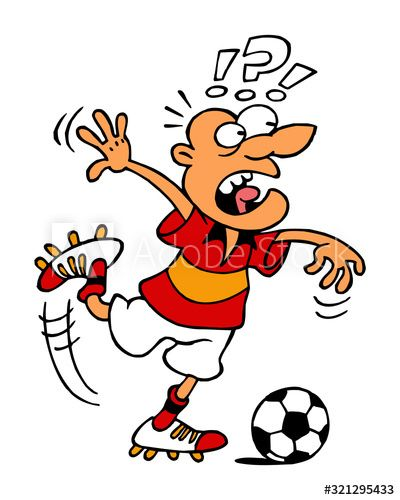 Soccer Player Kicking Ball Shooting Penalty Kick Is Surprised Sport Joke Sport Is Fun Color Cartoon Aff Ball In 2020 Sports Joke Soccer Players Penalty Kick