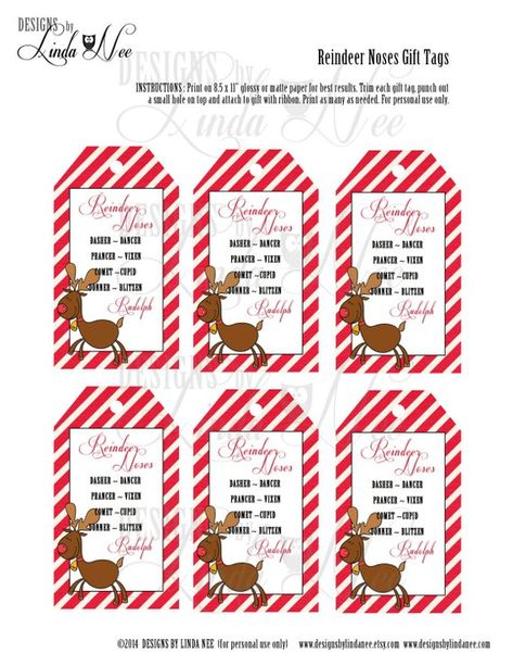 Reindeer Noses, Printable Bag Toppers, Rudolph, Treat Bag Toppers, Christmas Party Favors, Christmas