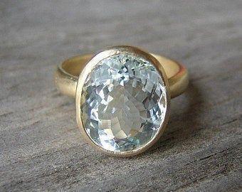 Cushion Aquamarine Ring Yellow Gold Engagement Ring March | Etsy #statementrings