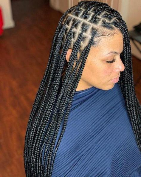 Cute Box Braids Hairstyles, Braided Hairstyles For Black Women, African Braids Hairstyles, Braids For Black Hair, Hairstyle Ideas, Black Hair Braid Hairstyles, Black Women Braids, Protective Hairstyles, Wedding Hairstyles
