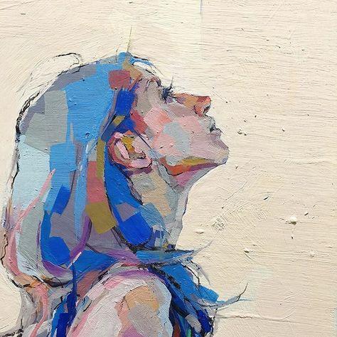 """古河原泉 on Instagram: """"降りてきてくれてありがとう #blue #oilpainting #woman #art"""""""