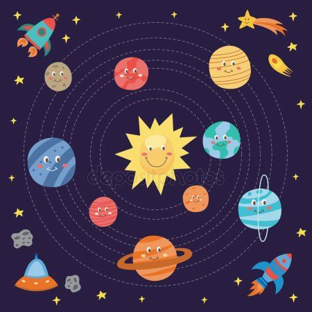 Cute Planets Drawing For Children Cartoon Galaxy Universe Themed