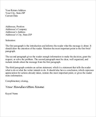 personal business letter sample examples word pdf the best - closing statement
