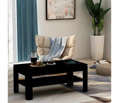 Vidaxl Stolik Kawowy Czarny 110 X 60 X 47 Cm Plyta Wiorowa Coffee Table High Gloss Living Room Stands Solid Coffee Table