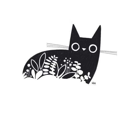 Black Cat Plant Pencil Illustration Print - Black And White - Cat Lover Gift