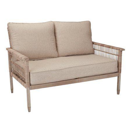 Better Homes Gardens Meadow Lake Patio Wicker Loveseat With Beige Cushions Walmart Com Wicker Loveseat Beige Cushions Love Seat
