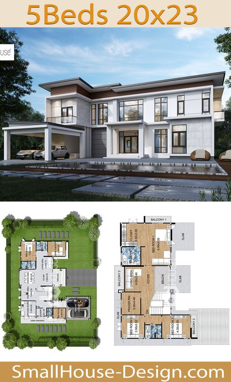 New House Design Plot 20x23 with 5 Bedrooms. FIRE HOME SERIES Modern Style Line F-137,2-story house, 5 bedrooms,5 bathrooms,Parking for 2 cars.  362 square meters of living space, Land area 115 Square Wah, 23 meters wide 20 meters long.