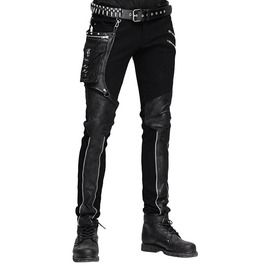 Womens Quality Black Leather Look Stretch Jeans Biker Goth Style UK 6-16